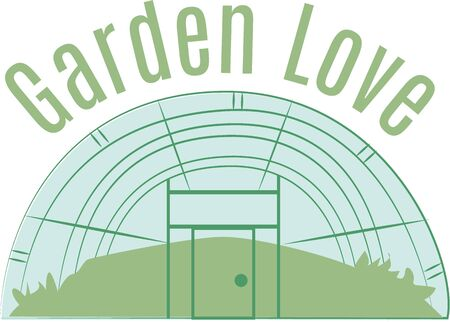 Giardinieri ameranno una grande serra su una t-shirt. Archivio Fotografico - 44886084