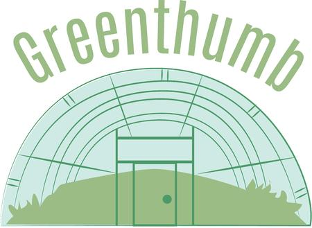 Giardinieri ameranno una grande serra su una t-shirt. Archivio Fotografico - 44886126