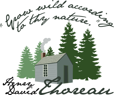 log cabin: Use this Life in the Woods of Henry David Thoreau in your next design. Illustration