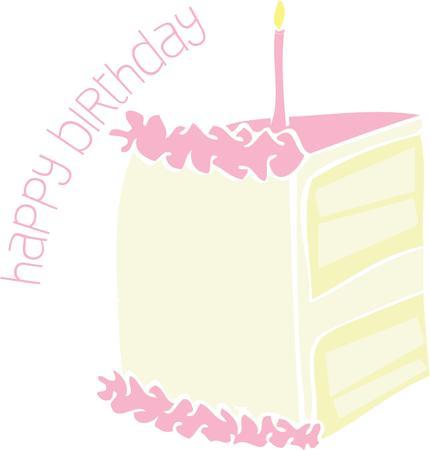 自分の誕生日に、誰かにいくつかのおいしいケーキを与えます。  イラスト・ベクター素材
