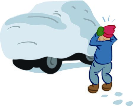 rite: Use this snow covered car to share a Northerner rite of passage on sweats.