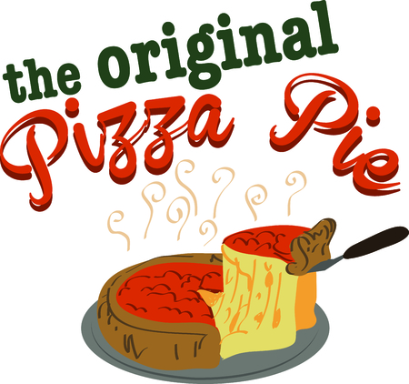 pizza pie: Use this delicious deep dish pizza pie for a touch of Chicago on a kitchen apron.