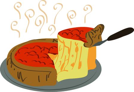 Gebruik deze heerlijke diepe gerecht pizza voor een aanraking van Chicago op een keukenschort. Stock Illustratie