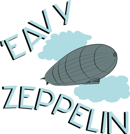 This Zeppelin design will look trendy on a shirt or bag for your favorite hipster. Illustration