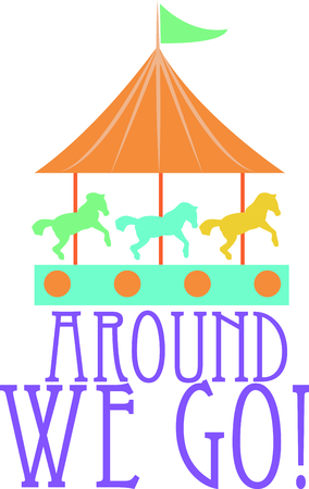 Riding a carousel is so much fun in the park.  Use this image for your next design.  Perfect for a baby's room. Фото со стока - 44888502