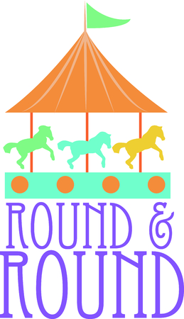 Riding a carousel is so much fun in the park.  Use this image for your next design.  Perfect for a baby's room. Фото со стока - 44888513