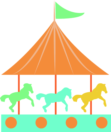 Riding a carousel is so much fun in the park.  Use this image for your next design.  Perfect for a baby's room.