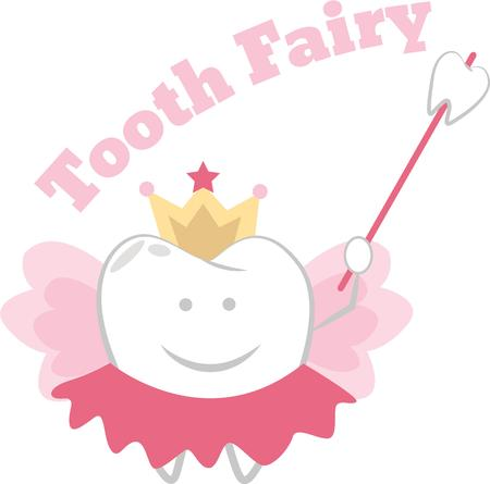 Put a tooth fairy on a pillow for a lost tooth. Illustration