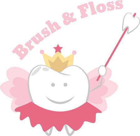 잃어버린 치아에 베개에 이빨 요정을 올려 놓으십시오. 일러스트