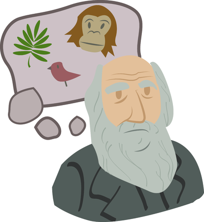 darwin: Science geeks will enjoy this historic scientist on a t-shirt. Illustration