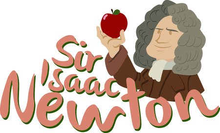 isaac newton: Science geeks will enjoy this historic scientist on a t-shirt. Illustration