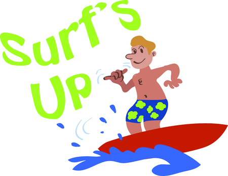 Use this surfer on a beach towel for your next tropical getaway. Illustration