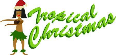 あなたのクリスマスのハワイアンから形見としてこのフラ ・ ダンサーを使用します。  イラスト・ベクター素材