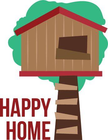놀이 옷에 나무 집을 놓으십시오.