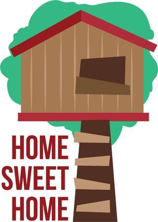 Mettere una casa sull'albero sui vestiti di gioco. Archivio Fotografico - 44885554