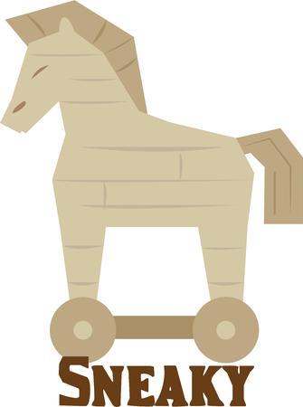cavallo di troia: Far sapere che grandi cose vengono in strane confezioni con questo cavallo di Troia su una t-shirt.