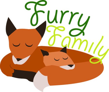 Animal lovers will enjoy this fox family. Illustration
