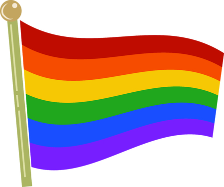 become: The rainbow flag has become the easily-recognized colors of pride for the gay community. Illustration