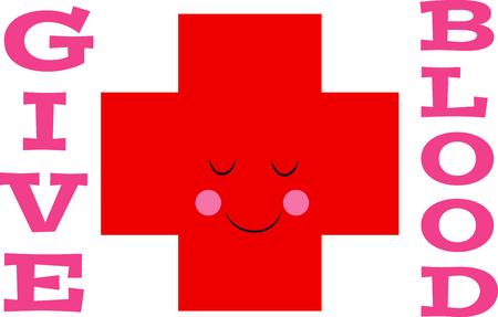 cruz roja: Esta cruz roja feliz es una maravillosa manera de recordar a la gente a donar sangre. Vectores