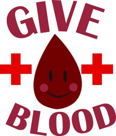 This happy blood drop is a wonderful way to remind people to donate blood.