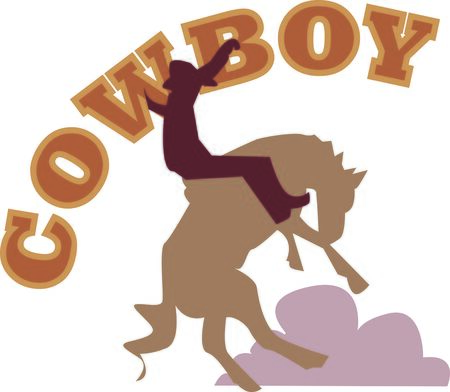bronco: Use this cowboy and bronco design for your next project.