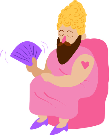 big top: Use this bearded lady for a fun circus theme project.