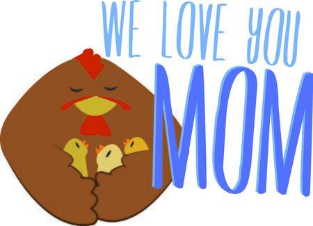 Moms schützen immer ihre Küken. Machen Sie Ihre Mutter ein besonderes Design. Standard-Bild - 44888637