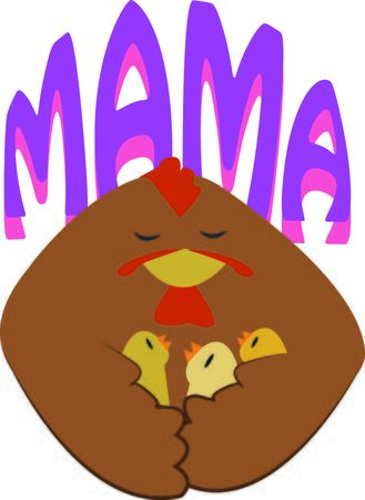 fowls: Moms always protect their chicks.  Make your mother a special design. Illustration