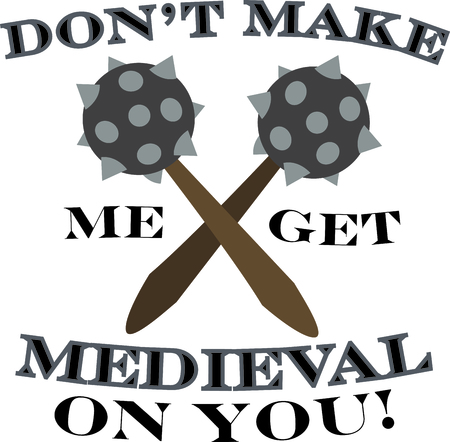 Show off your medieval side with spiked maces on a t-shirt.