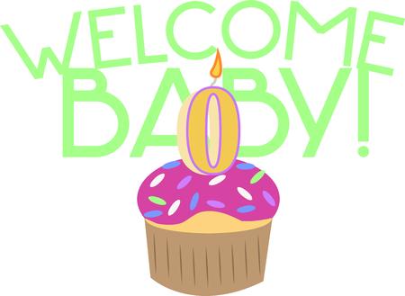 Feiern Sie ein Neugeborenes mit einem Geburtstag Cupcake. Standard-Bild - 44889165