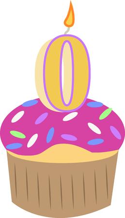 Feiern Sie ein Neugeborenes mit einem Geburtstag Cupcake. Standard-Bild - 44889111