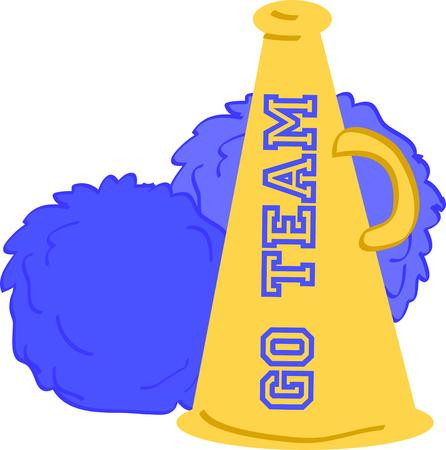 cheer leader: Utilice esta meg�fono y pompones para animar a tu equipo favorito.