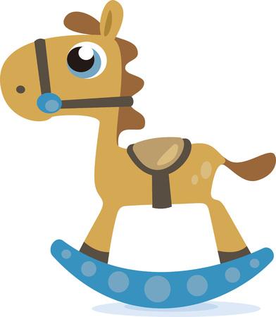 Questo simpatico disegno cavallo a dondolo è perfetto per un regalo bambino doccia. Archivio Fotografico - 44918533