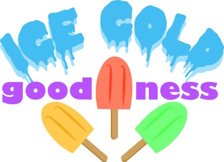 icy: Nothing screams summer like an icy juicy popsicle.  This design is perfect on bags, t-shirts and more. Illustration