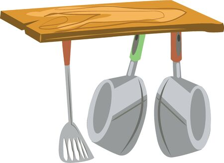 Accent a kitchen with cooking pots. Ilustracja