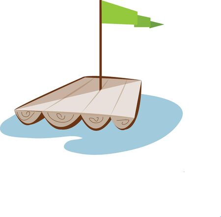 Dream of bigger boats with a cute raft. Illustration