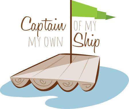 Dream of bigger boats with a cute raft. Иллюстрация
