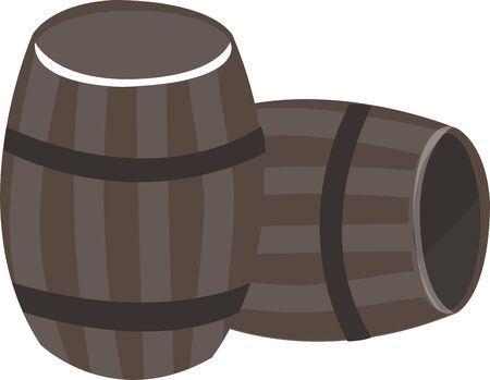 Biervaten zijn een groot ontwerp toe te voegen aan een bar handdoek. Stock Illustratie