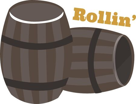 Beer barrels are a great design to add to a bar towel. Illustration