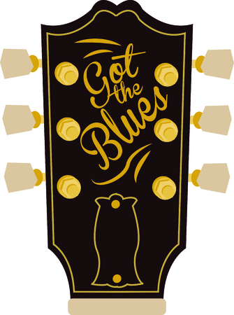 headstock: Rock on the wild side! Stitch this cool guitar headstock design on shirts, bags, and more for your rock stars.