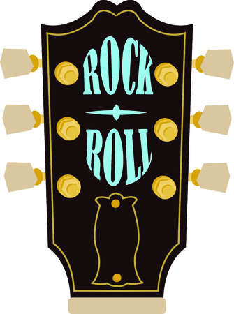 Rock on the wild side! Stitch this cool guitar headstock design on shirts, bags, and more for your rock stars.