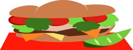 Ein Footlong Sandwich ist der perfekte Entwurf, zum Ihrer Sandwich-Geschäft zu fördern. Standard-Bild - 44918682