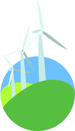 aero generator: Wind turbines use wind to produce electricity.  Add this design to a hat to promote renewable energy resources. Illustration