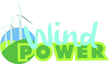 Wind turbines use wind to produce electricity.  Add this design to a hat to promote renewable energy resources. Ilustrace