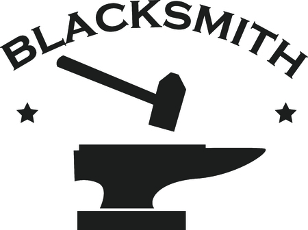 blacksmith: This anvil and hammer is a great icon for a blacksmith. Illustration