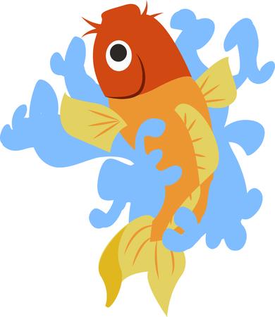 oranda: A beautiful goldfish is a great design on an oriental project. Illustration