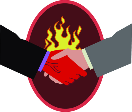beware: Beware of a deal with the devil and this evil handshake Illustration