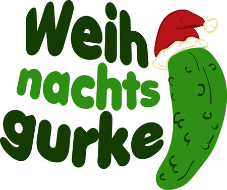 cuke: Remember a fun Christmas tradition with this Kosher Christmas pickle, perfect for a family shirt.