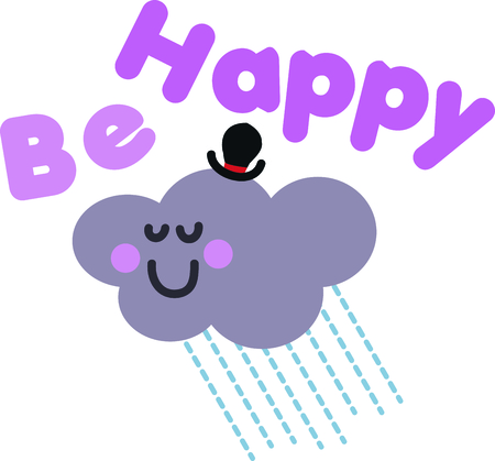 This happy cloud will look cute on a toddlers shirt.