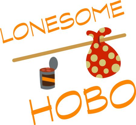hobo: Use this hobo design on a funny shirt for a friend. Illustration